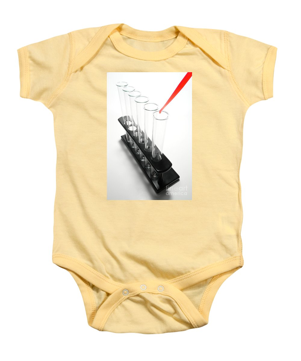 Test Baby Onesie featuring the photograph Laboratory Experiment In Science Research Lab by Science Research Lab By Olivier Le Queinec