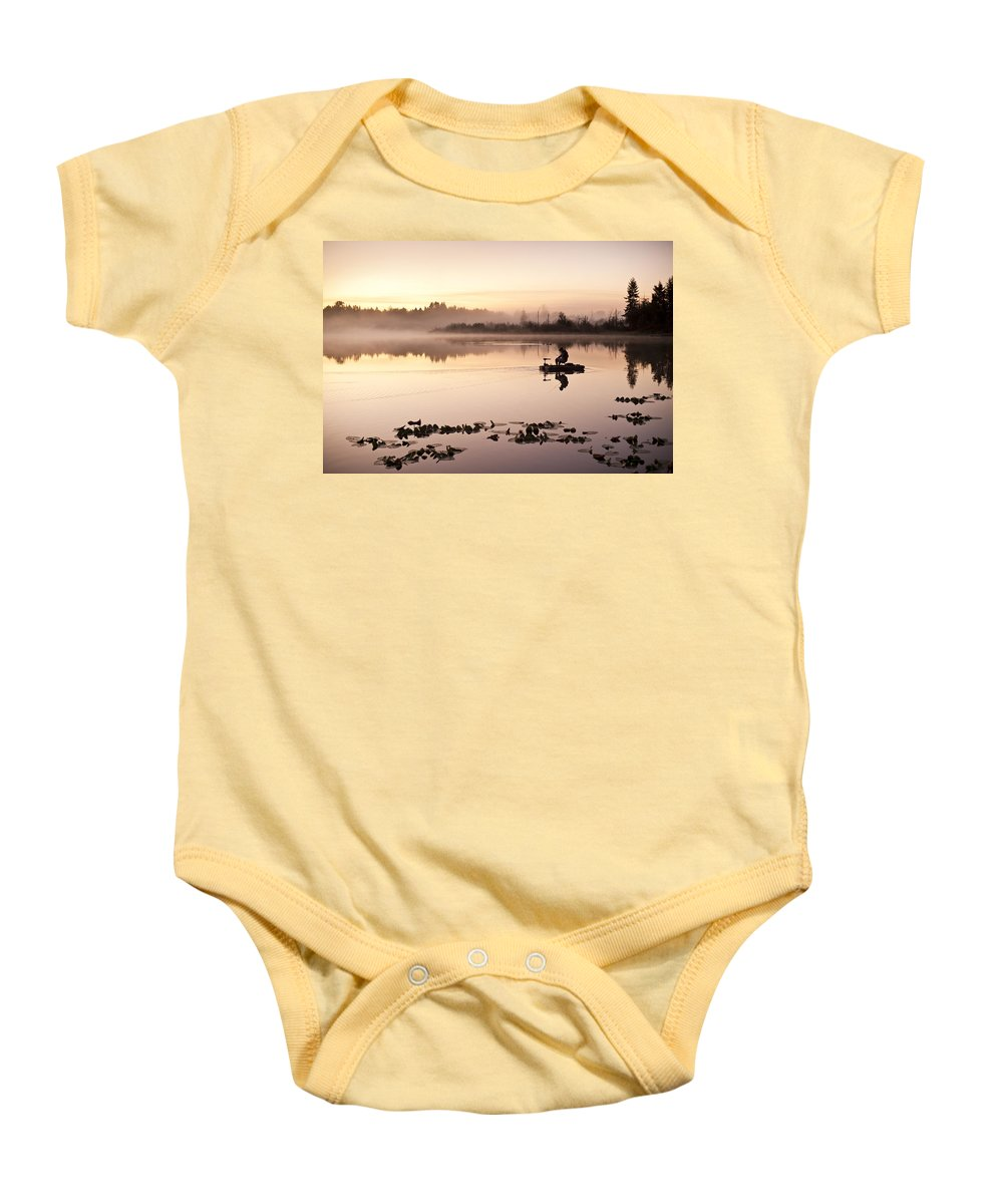 Landscape Baby Onesie featuring the photograph Sunrise In Fog Lake Cassidy With Fishermen In Small Fishing Boat by Jim Corwin