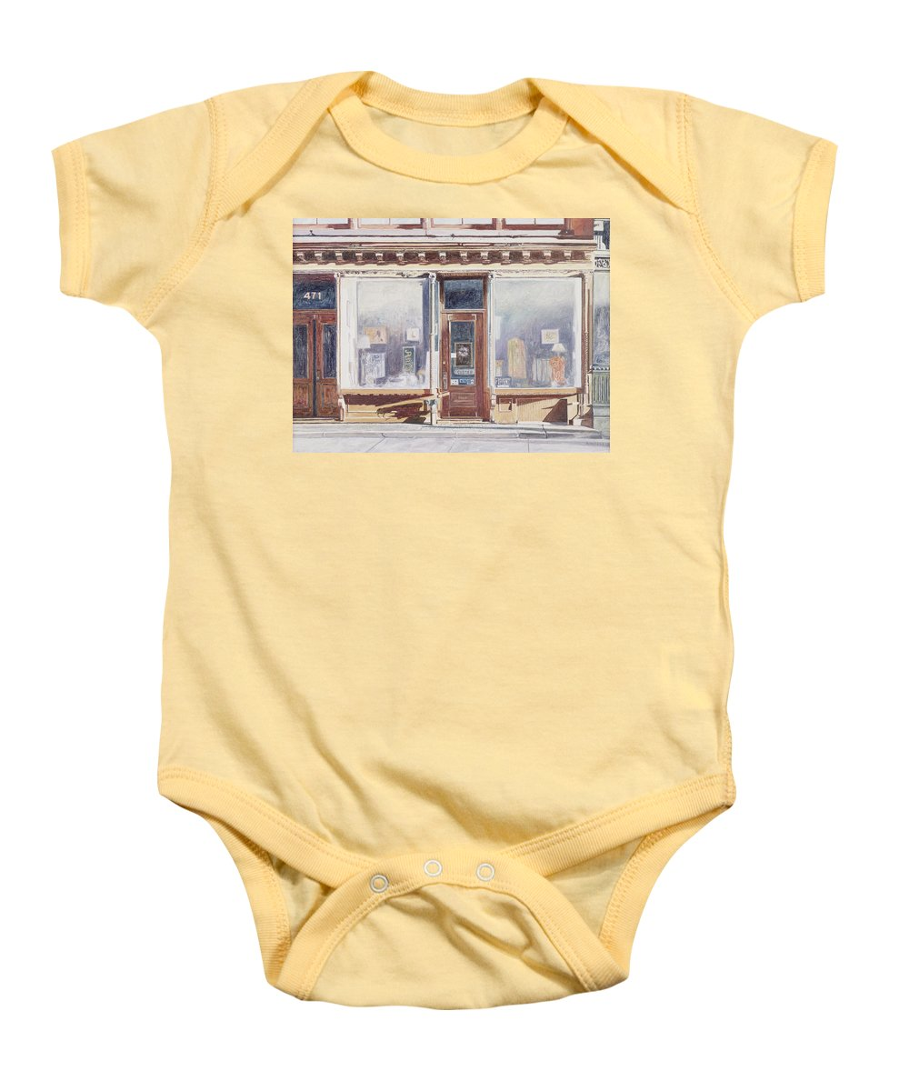 For Rent Baby Onesie featuring the painting 471 West Broadway Soho New York City by Anthony Butera