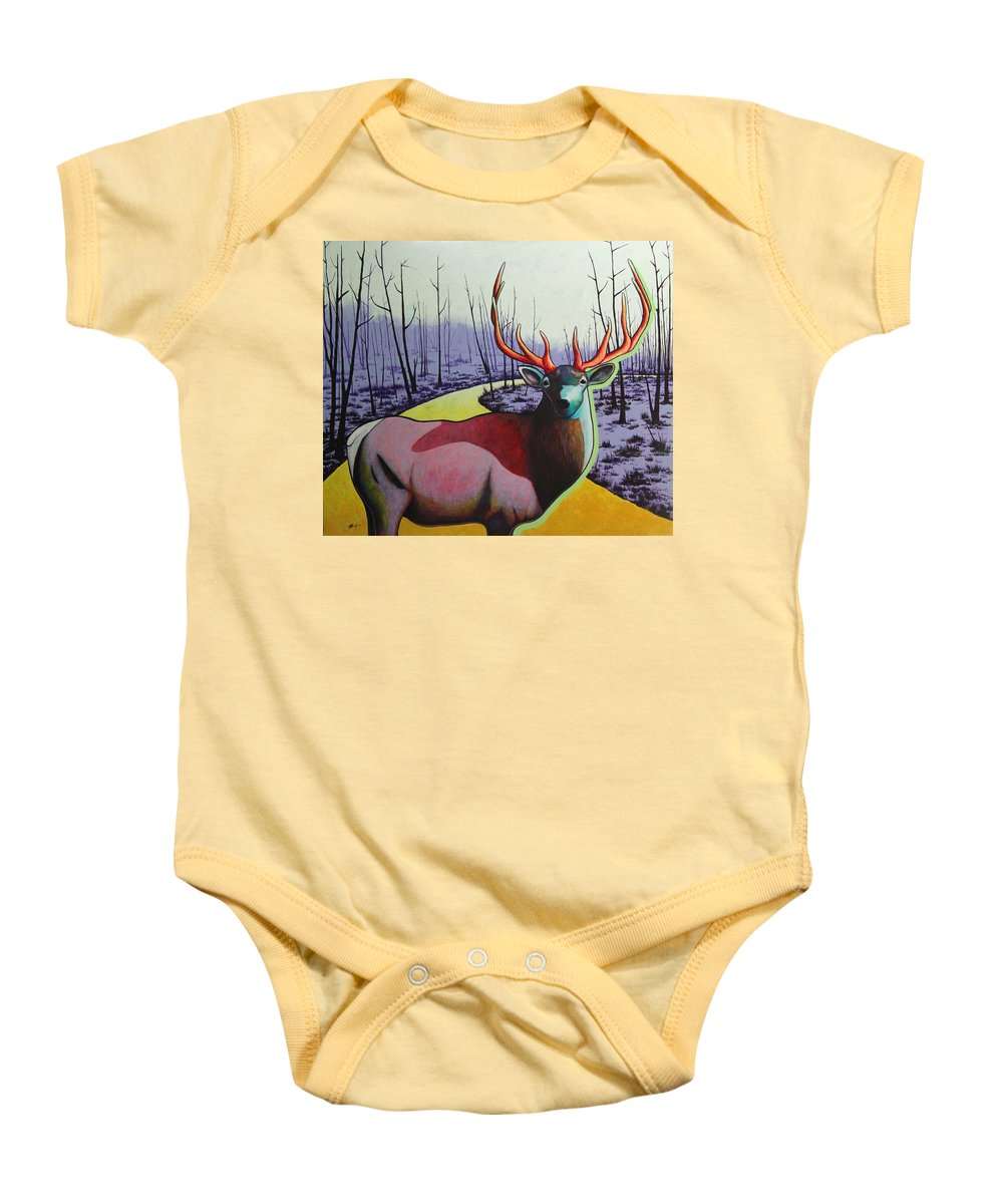 Wildlife In Yellowstone Park Baby Onesie featuring the painting A Close Encounter In Yellowstone by Joe Triano