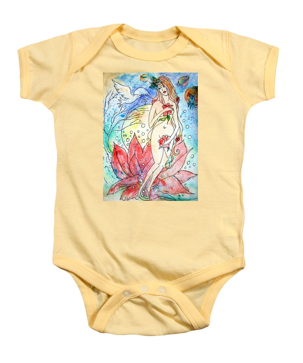 Female Figure Baby Onesie featuring the painting A New Birth by Robin Monroe