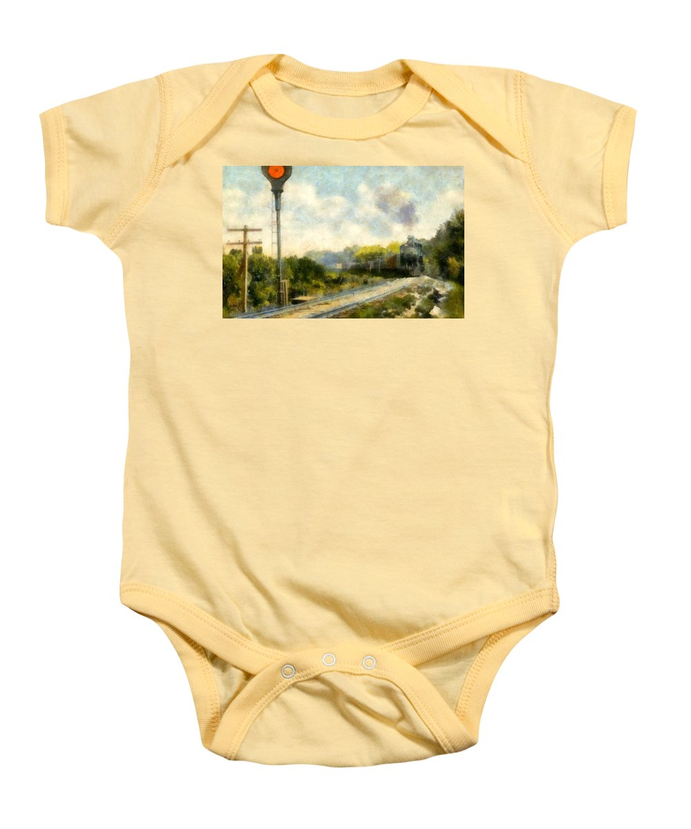 Locomotive Baby Onesie featuring the painting All Clear On The Pere Marquette Railway by Michelle Calkins