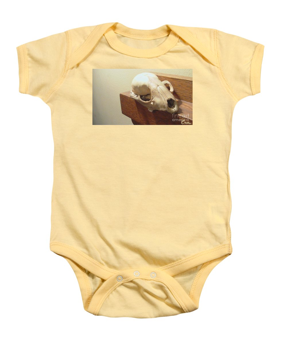 Animal Skull On Mantel Baby Onesie featuring the photograph Animal Skull Mantel 1 12 2011 by Feile Case
