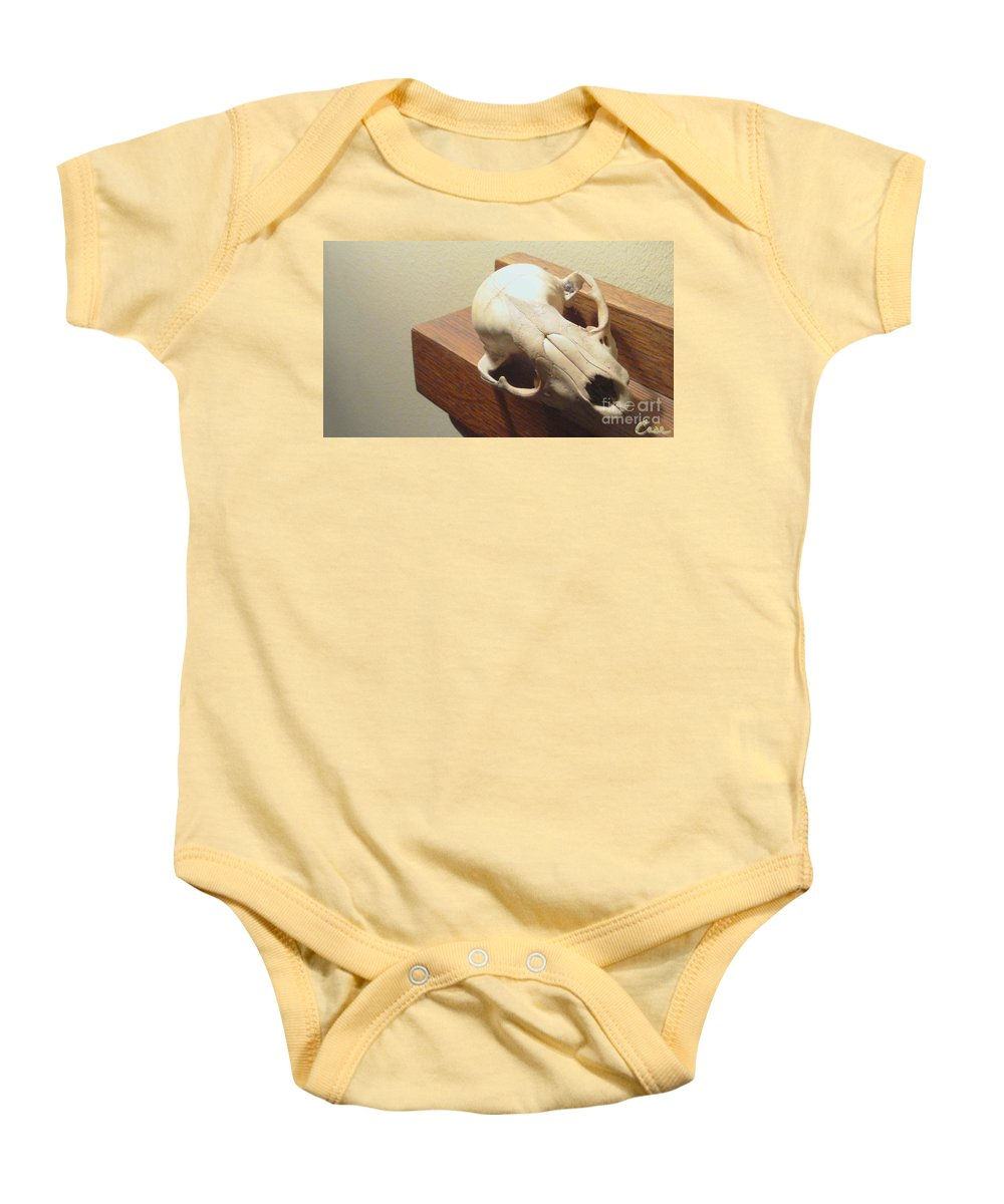 Animal Skull On Mantel Baby Onesie featuring the photograph Animal Skull Mantel 2 12 2011 by Feile Case