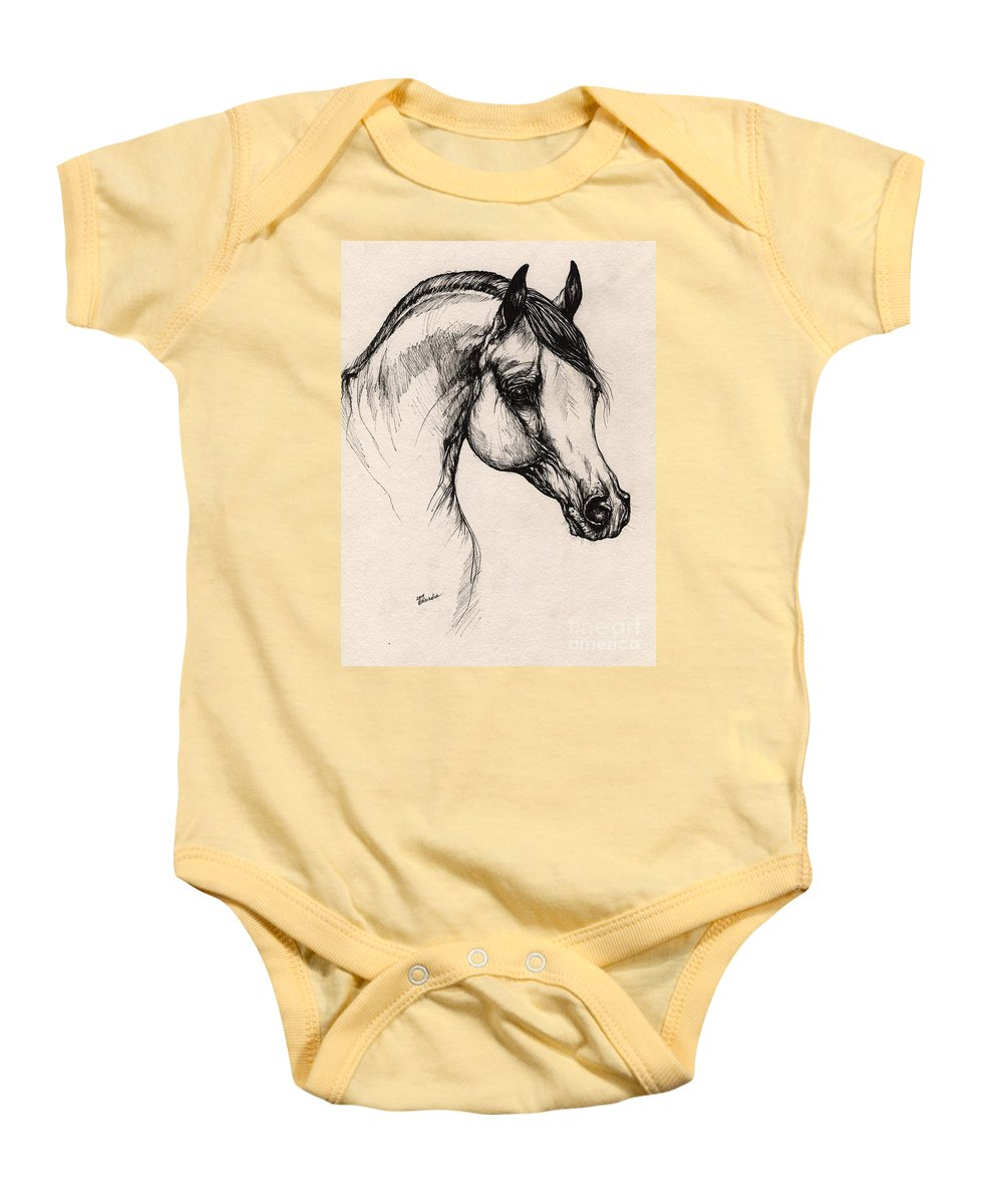 Horse Baby Onesie featuring the drawing Arabian Horse Drawing 24 by Angel Ciesniarska