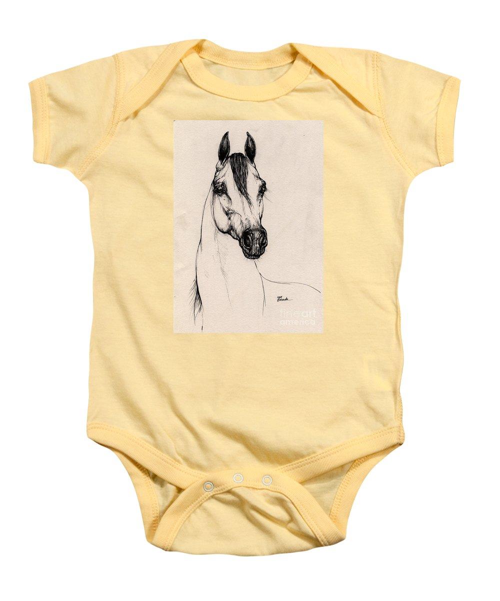 Arabian Horse Baby Onesie featuring the drawing Arabian Horse Drawing 29 by Angel Ciesniarska
