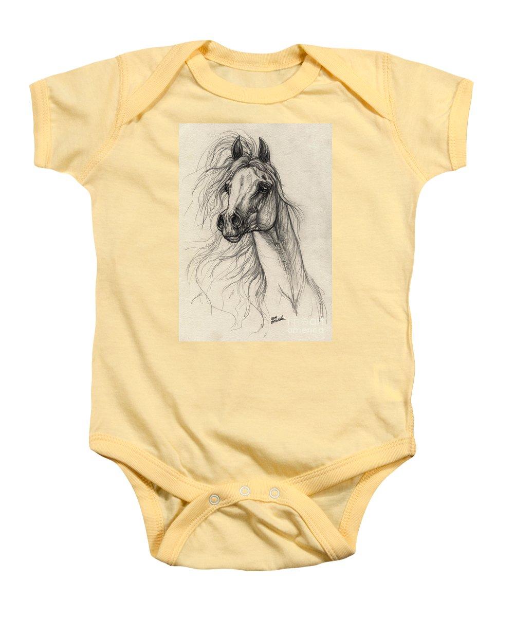 Horse Baby Onesie featuring the drawing Arabian Horse Drawing 37 by Angel Ciesniarska