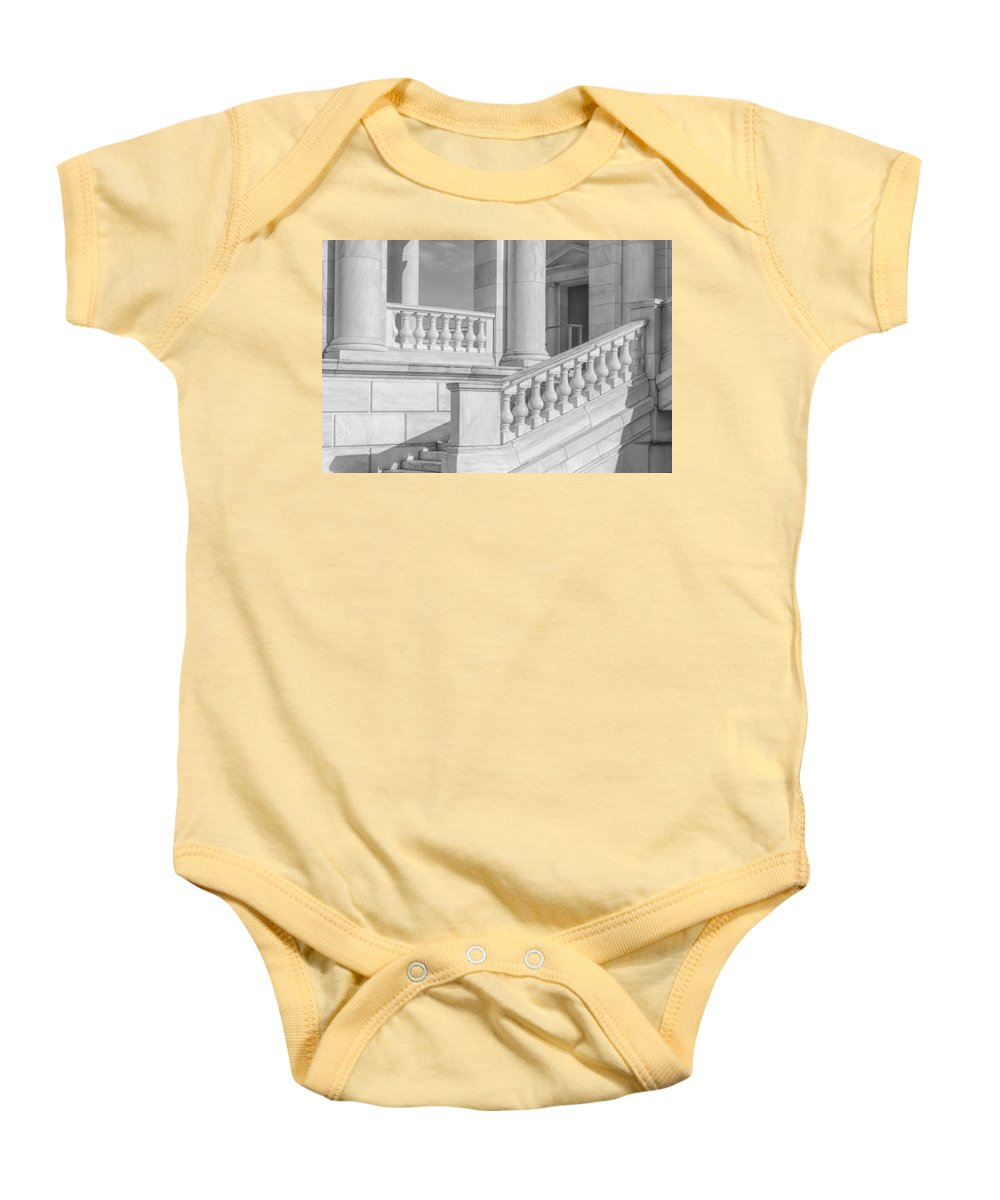 America Baby Onesie featuring the photograph Arlington Memorial Amphitheater Bw by Susan Candelario