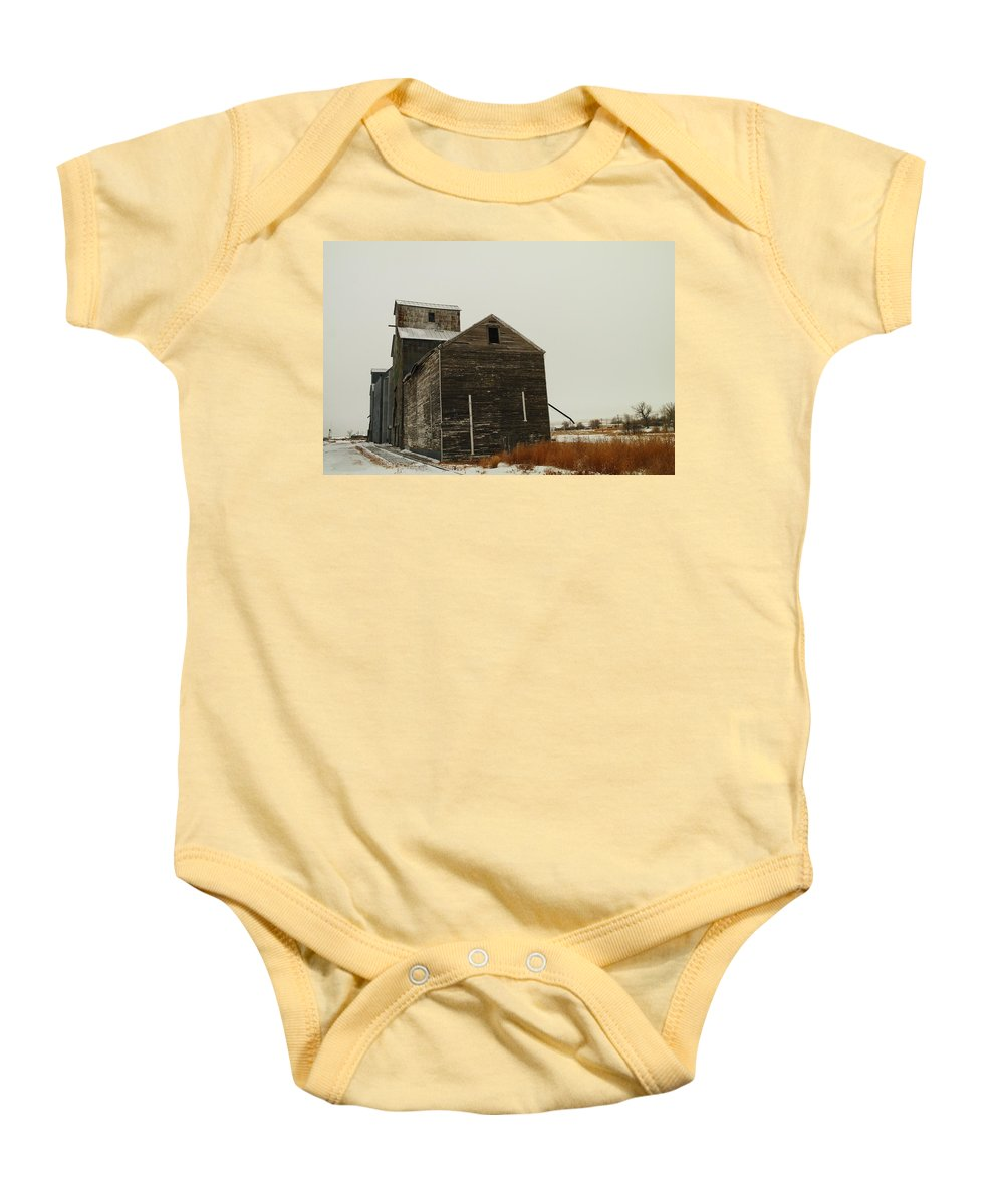 Small Towns Baby Onesie featuring the photograph Bainville Montana by Jeff Swan
