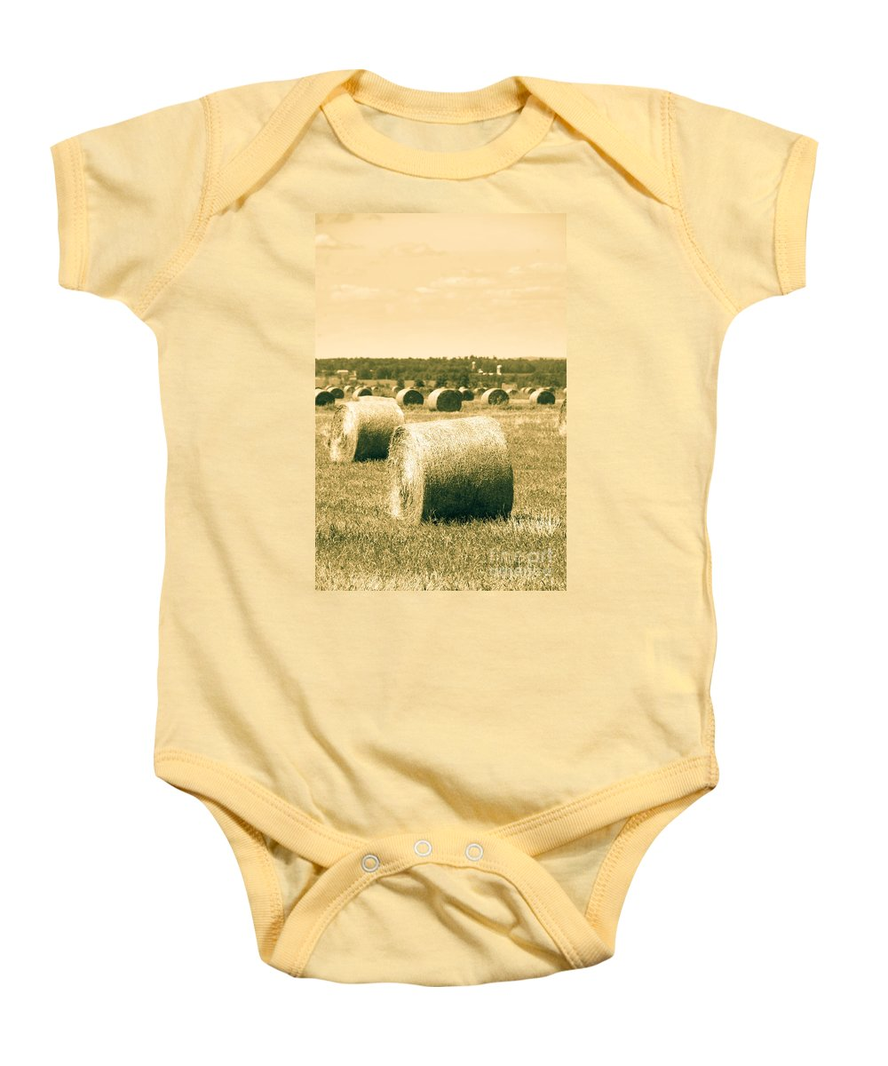 Farm Baby Onesie featuring the photograph Baled And Ready by Cheryl Baxter