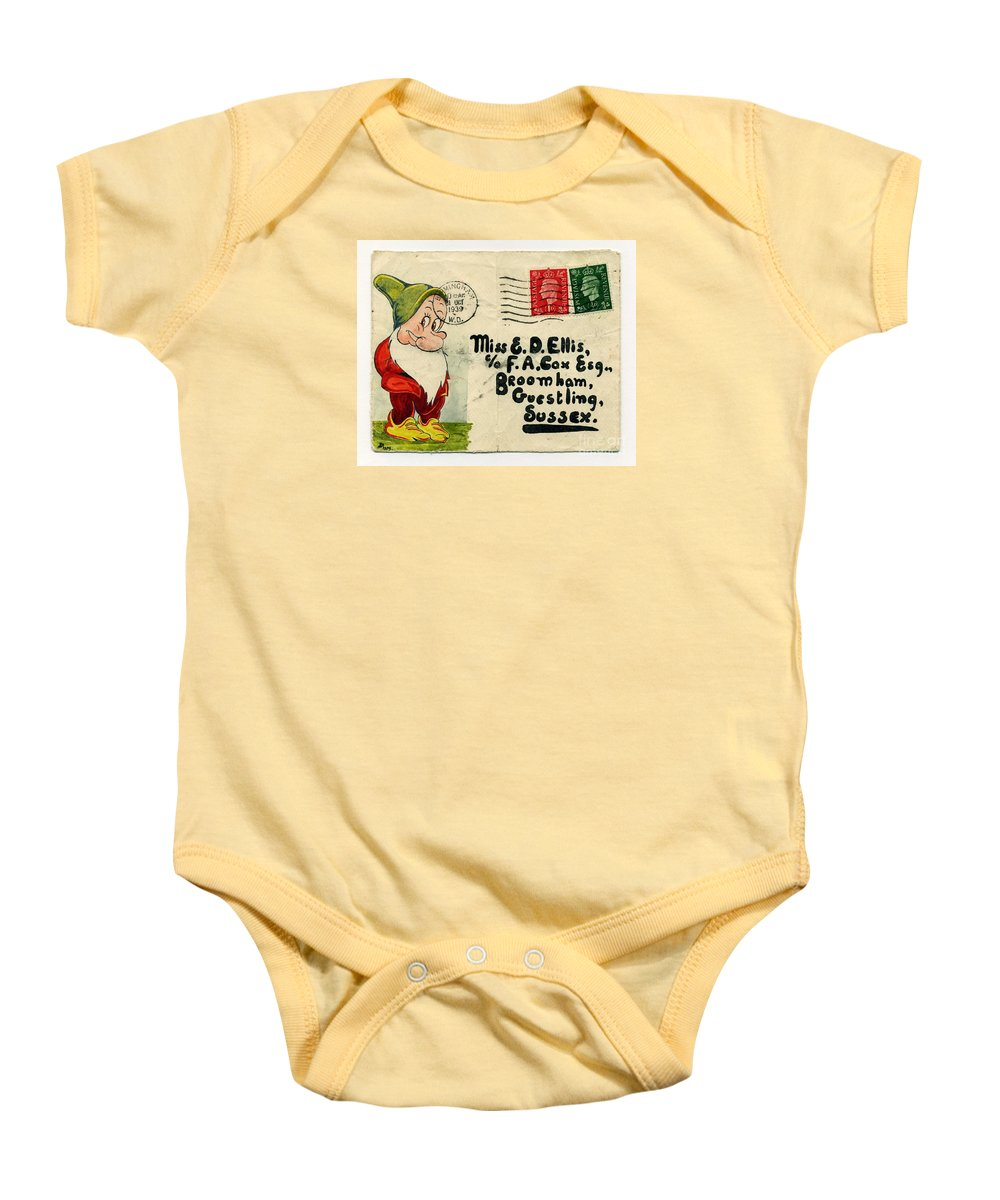 Bashful Baby Onesie featuring the painting Bashful Letter by John Chatterley