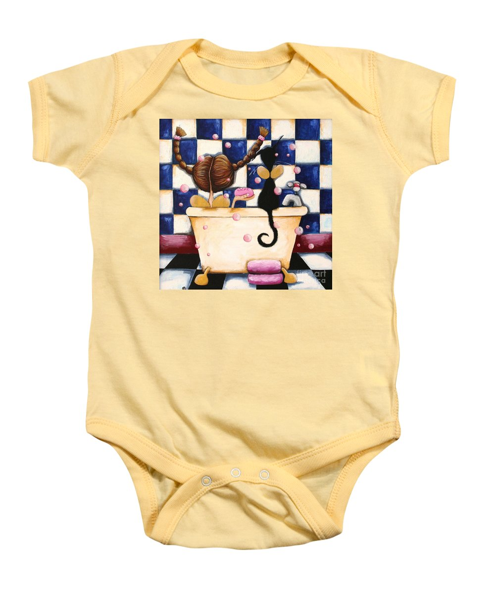 Whimsical Baby Onesie featuring the painting Bathtime Angels by Lucia Stewart