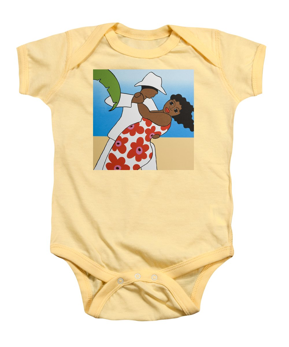 Dancing Baby Onesie featuring the mixed media Beach Party by Trudie Canwood