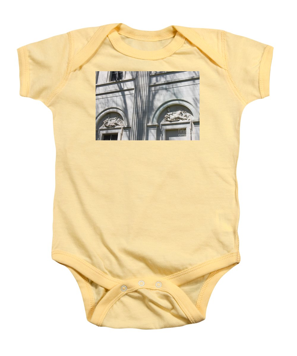 Newport Mansion Baby Onesie featuring the photograph Beauty Amongst Shadows by Jennifer E Doll
