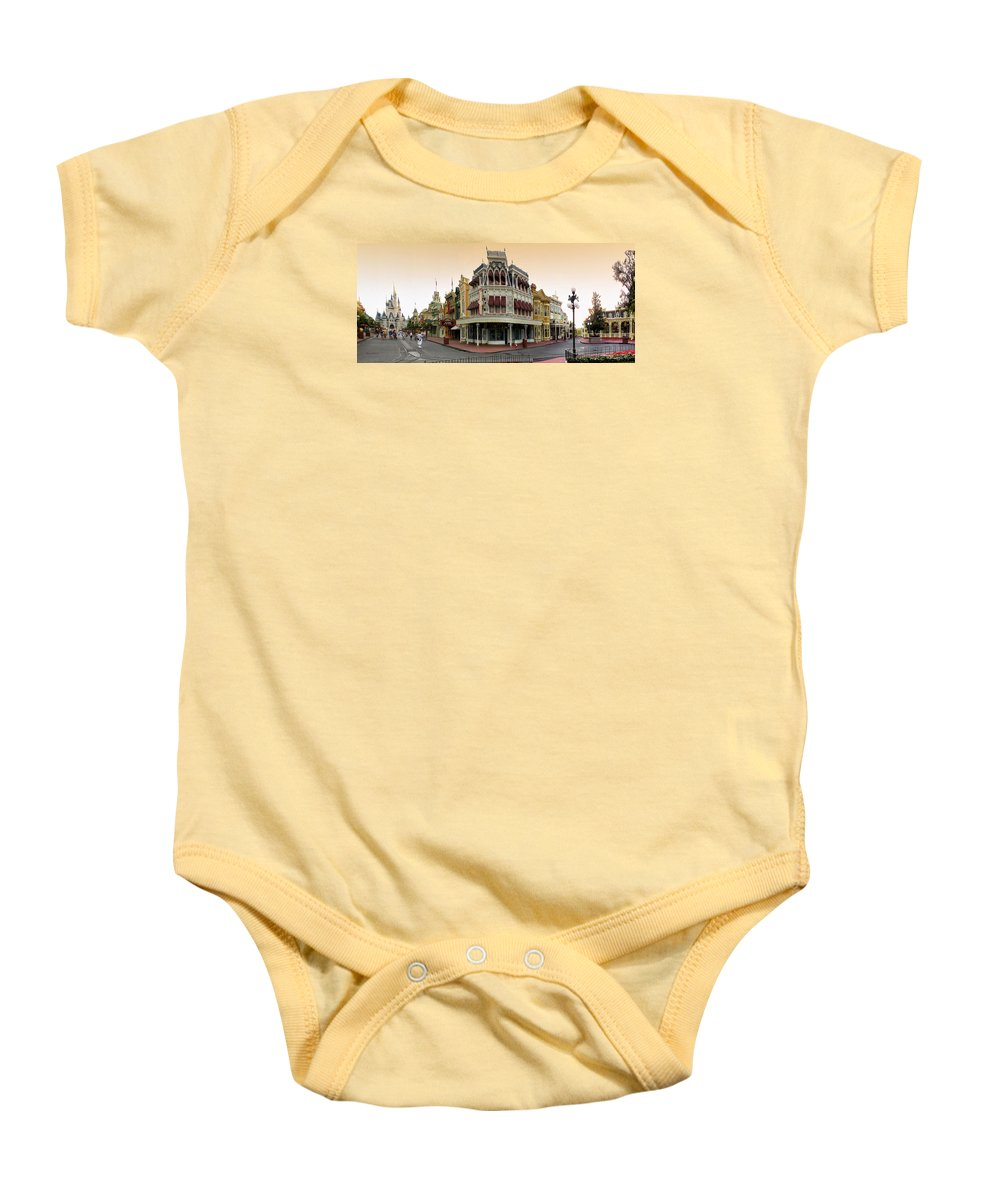 Magic Kingdom Baby Onesie featuring the photograph Before The Gates Open Magic Kingdom Main Street. by Thomas Woolworth