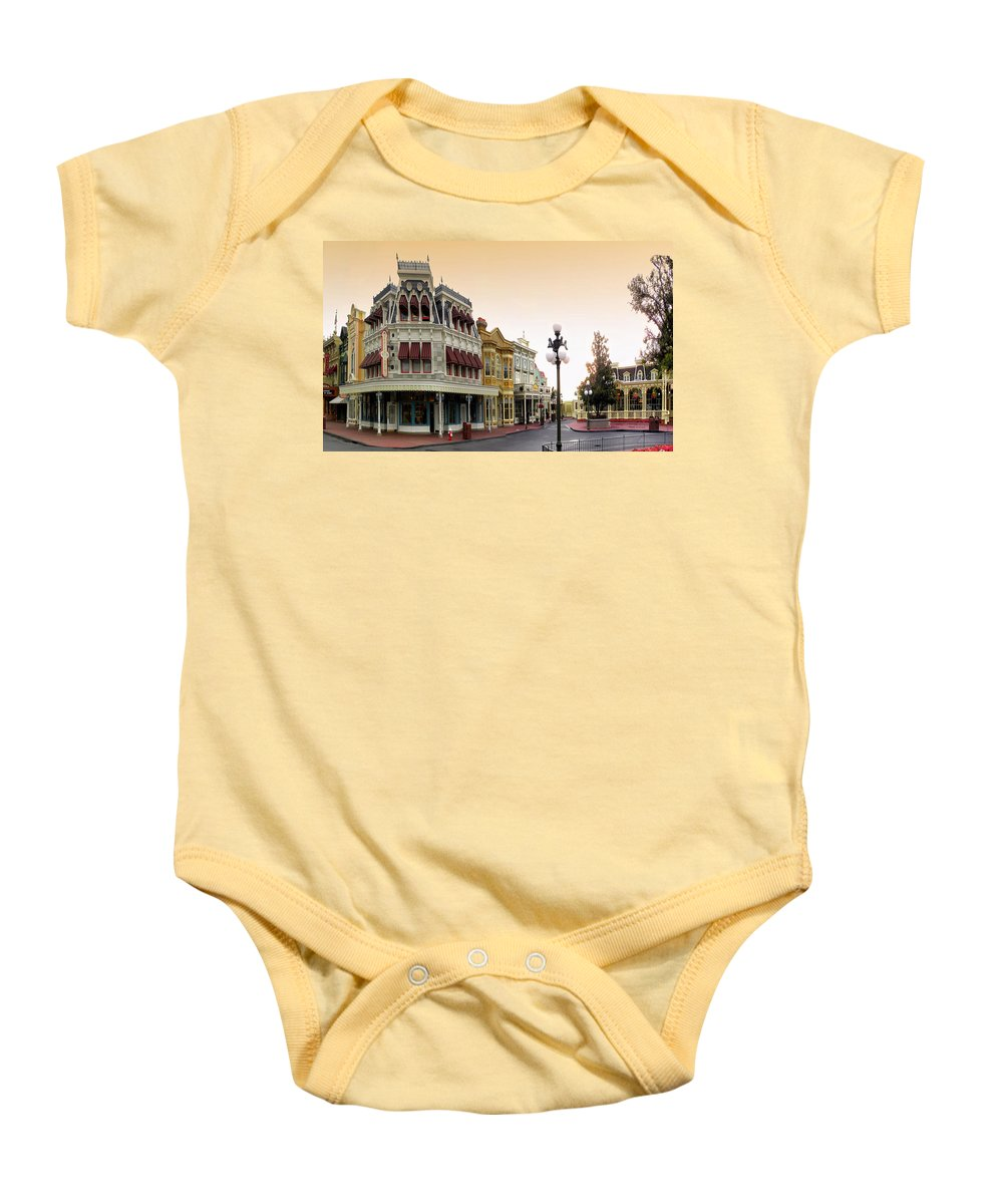 Magic Kingdom Baby Onesie featuring the photograph Before The Gates Open Main Street Magic Kingdom by Thomas Woolworth
