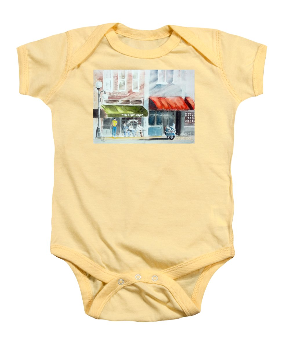 Street Baby Onesie featuring the painting beginning of the day at TECUMSEH MI by Yoshiko Mishina