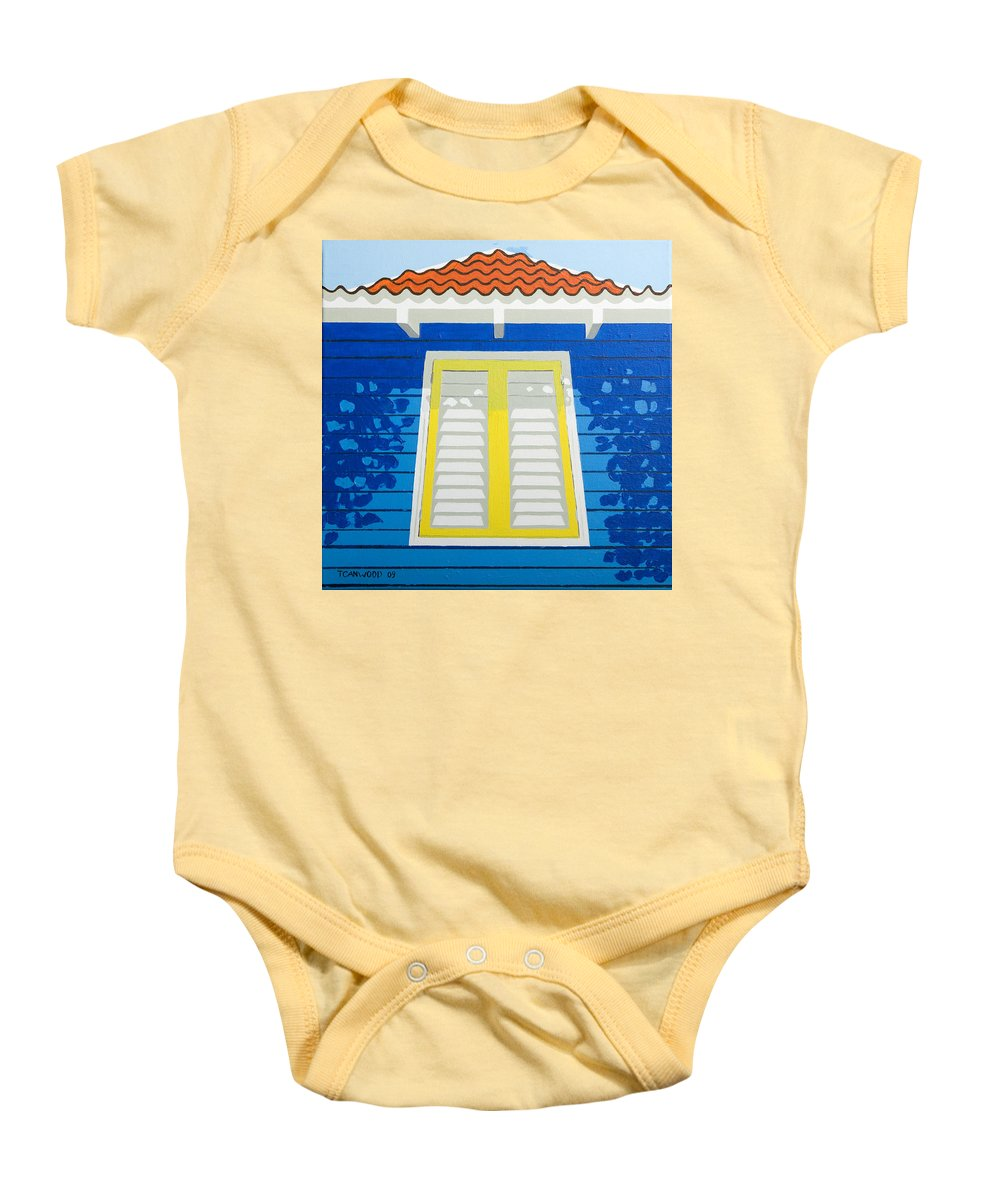 Caribbean House Architecture Sun Painting Blue Curacao Aruba Antilles Baby Onesie featuring the painting Blue House by Trudie Canwood
