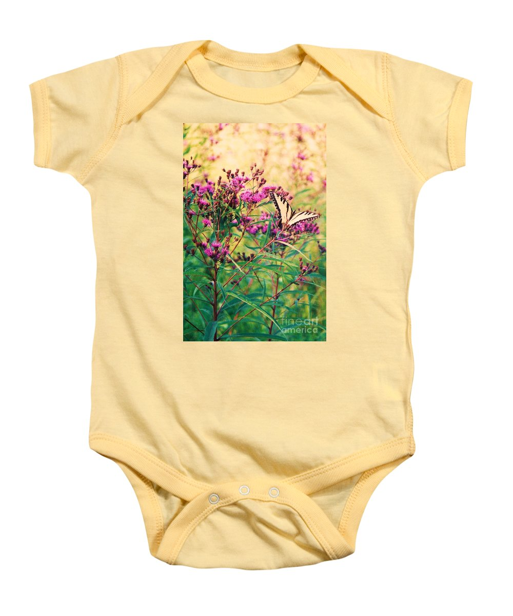 Floral Baby Onesie featuring the painting Butterfly Wildflower by Eric Schiabor