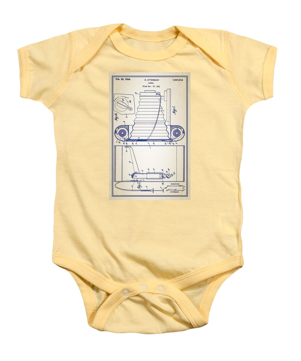 Camera Baby Onesie featuring the photograph Camera Patent by Bill Cannon