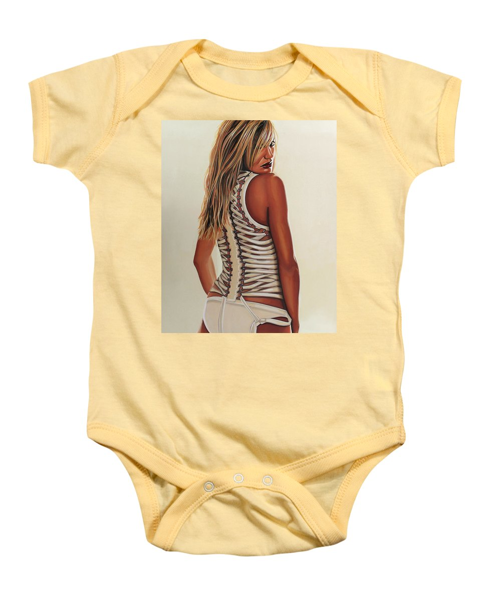 Cameron Diaz Baby Onesie featuring the painting Cameron Diaz Painting by Paul Meijering