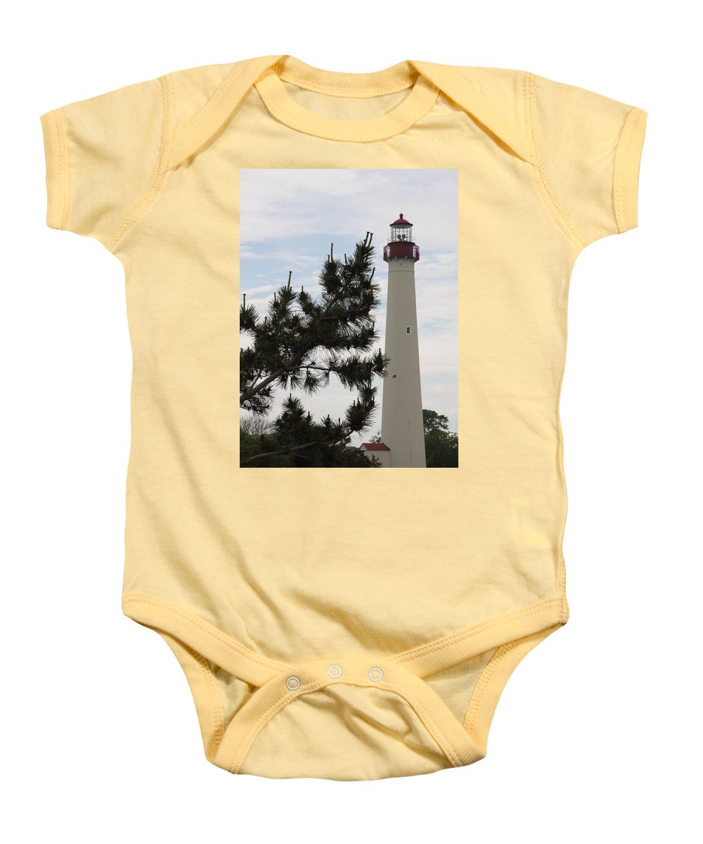 Lighthouse Baby Onesie featuring the photograph Cape May Lighthouse by Christiane Schulze Art And Photography