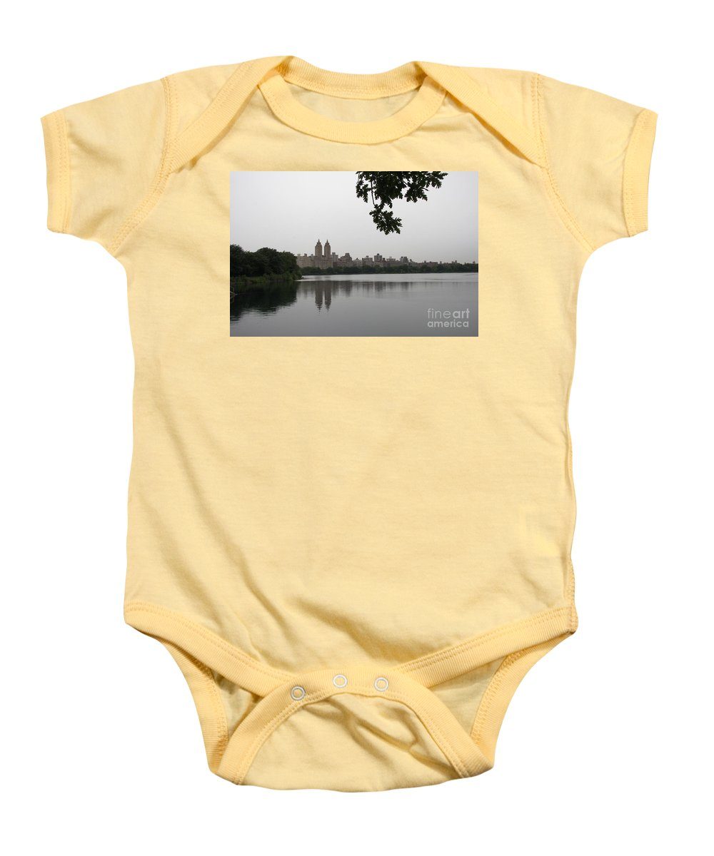 Water Basin Baby Onesie featuring the photograph Central Park Reservoir With Reflection Nyc by Christiane Schulze Art And Photography