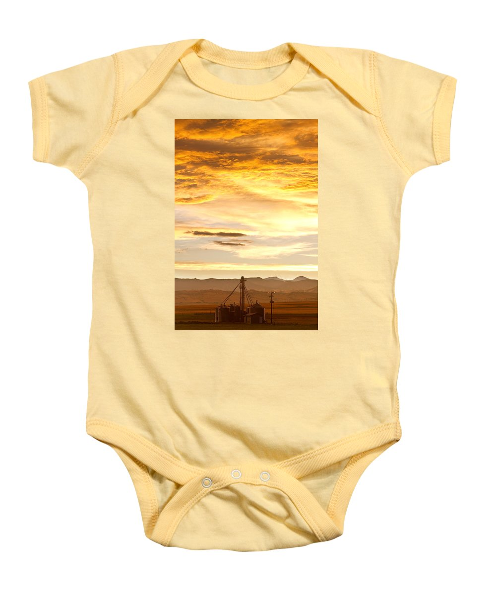 Silos Baby Onesie featuring the photograph Chicken Farm Sunset 1 by James BO Insogna