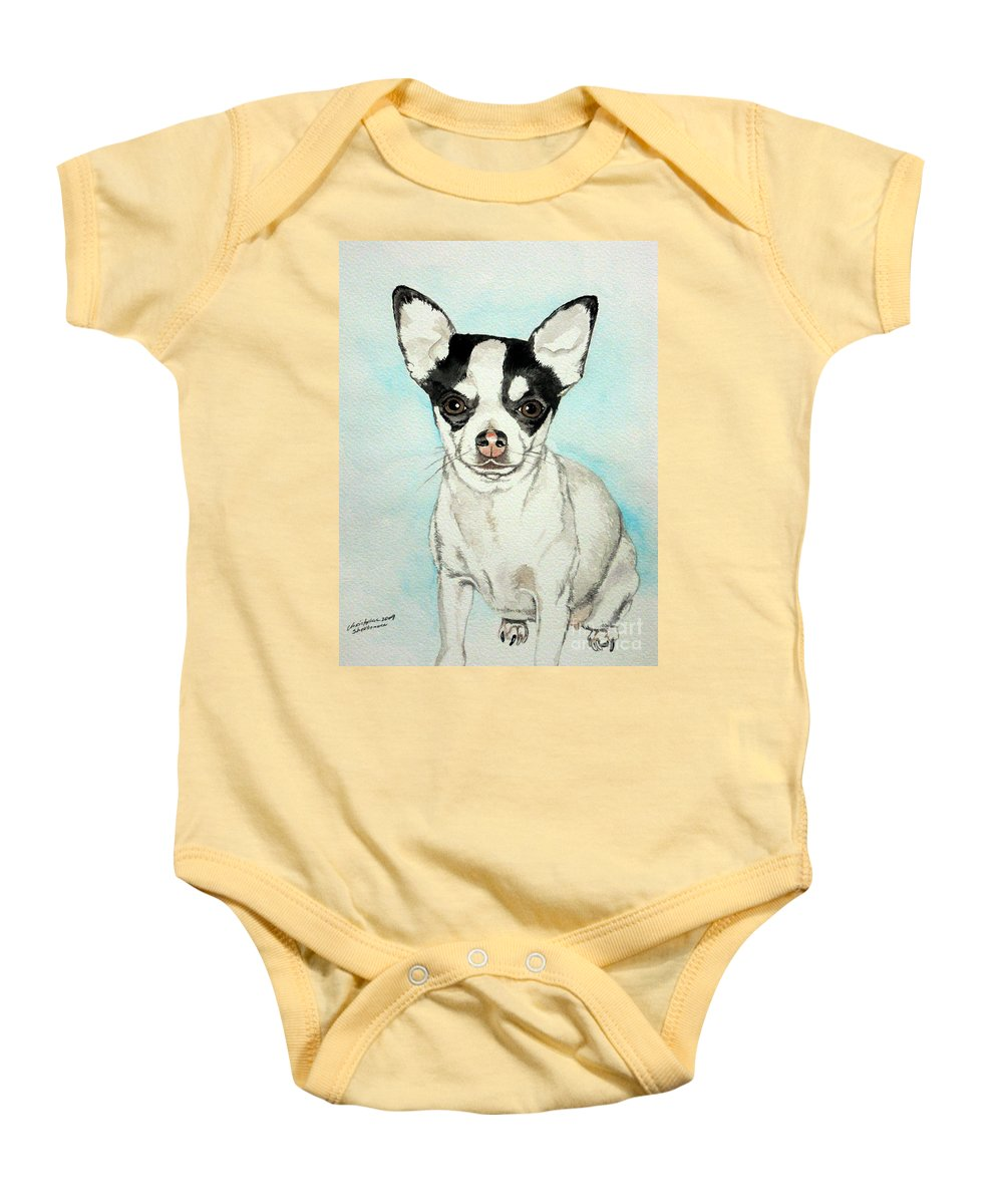 Chihuahua Baby Onesie featuring the painting Chihuahua White With Black Spots by Christopher Shellhammer