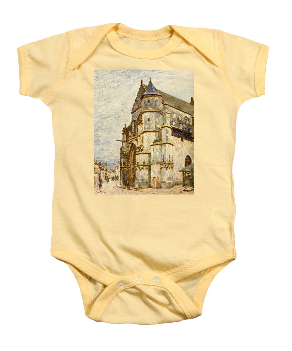Church Baby Onesie featuring the painting Church At Moret After The Rain by Alfred Sisley