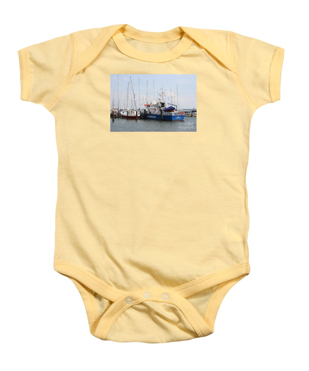 Harbor Baby Onesie featuring the photograph Coast Guard Maasholm Harbor by Christiane Schulze Art And Photography