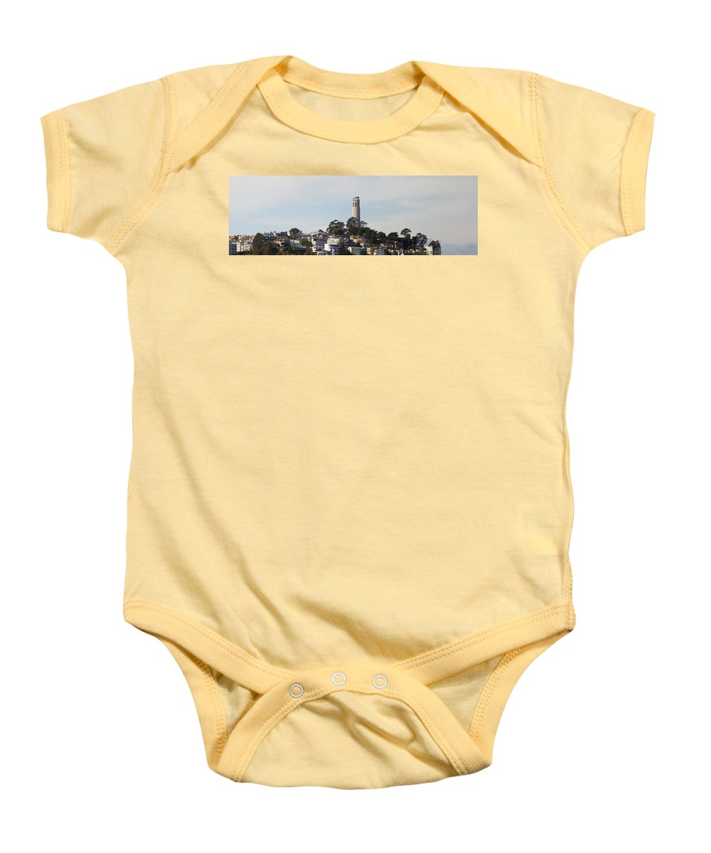 San Baby Onesie featuring the photograph Coit Tower On Telegraph Hill Panorama by Jit Lim