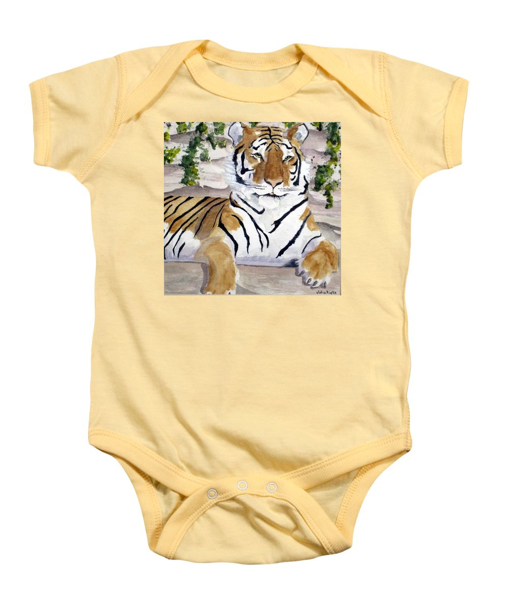 Tiger Baby Onesie featuring the painting Contemplating Dinner by Julia Rietz