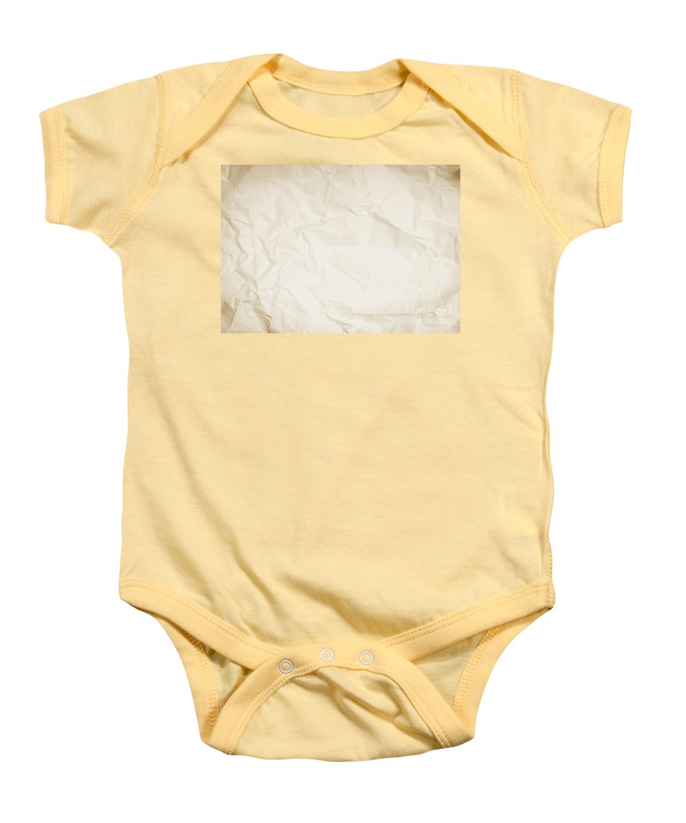 Paper Baby Onesie featuring the photograph Crumpled Sepia Paper Background by Tim Hester