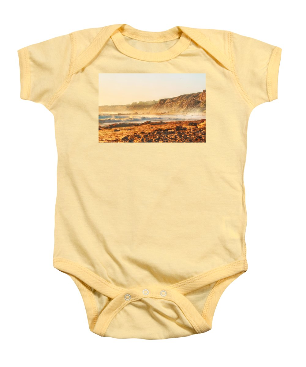 Crystal Cove Baby Onesie featuring the photograph Crystal Cove At Sunset 1 by Angela Stanton
