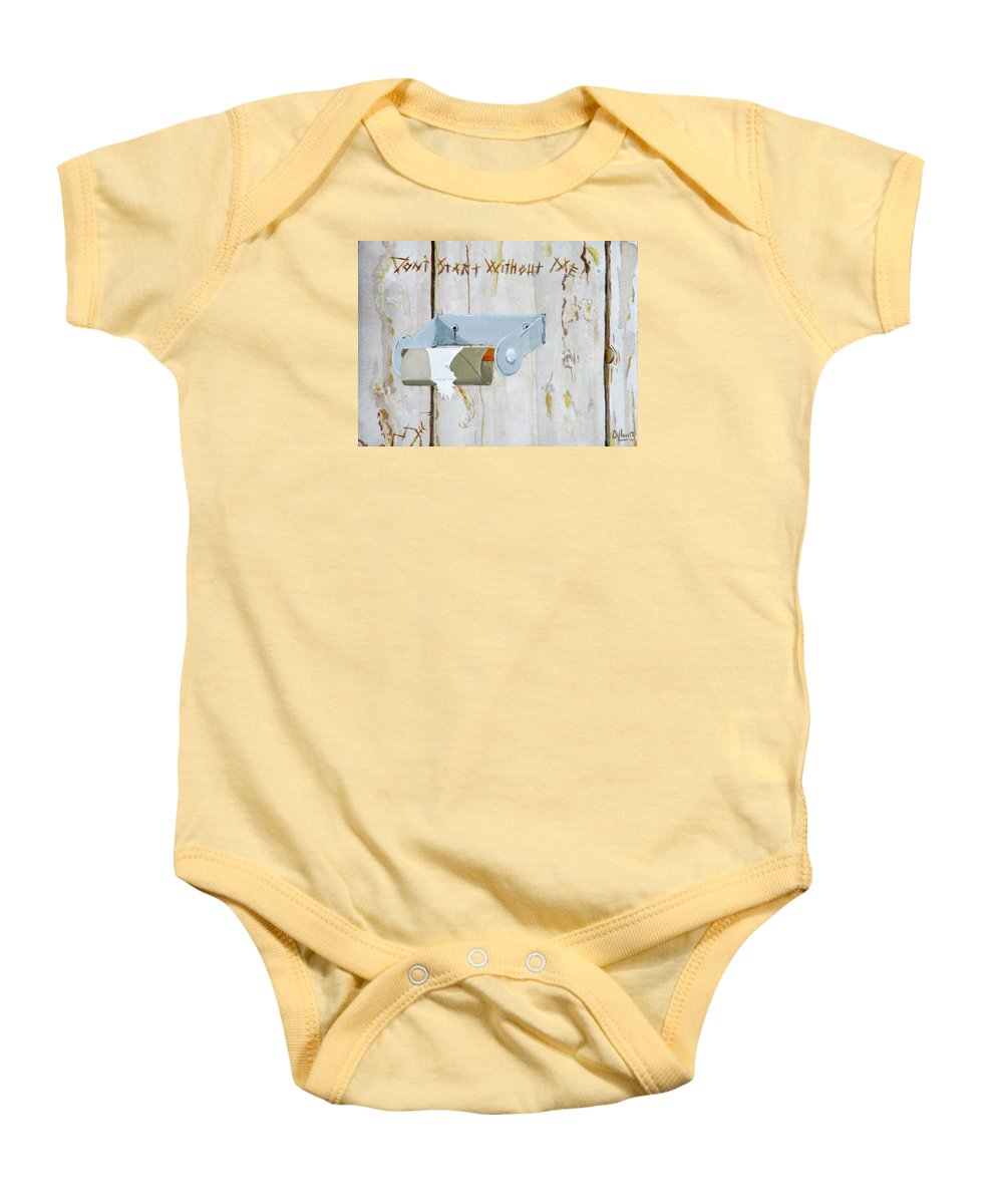 Bathroom Baby Onesie featuring the painting Deer Lease Dilemma by Michael Dillon