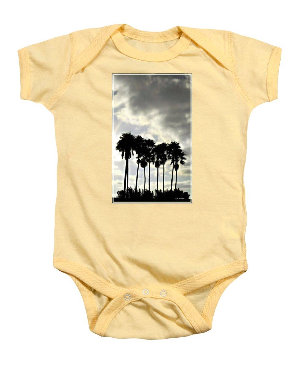 Palm Shadows Baby Onesie featuring the digital art Disney's Epcot Palm Trees by Joan Minchak