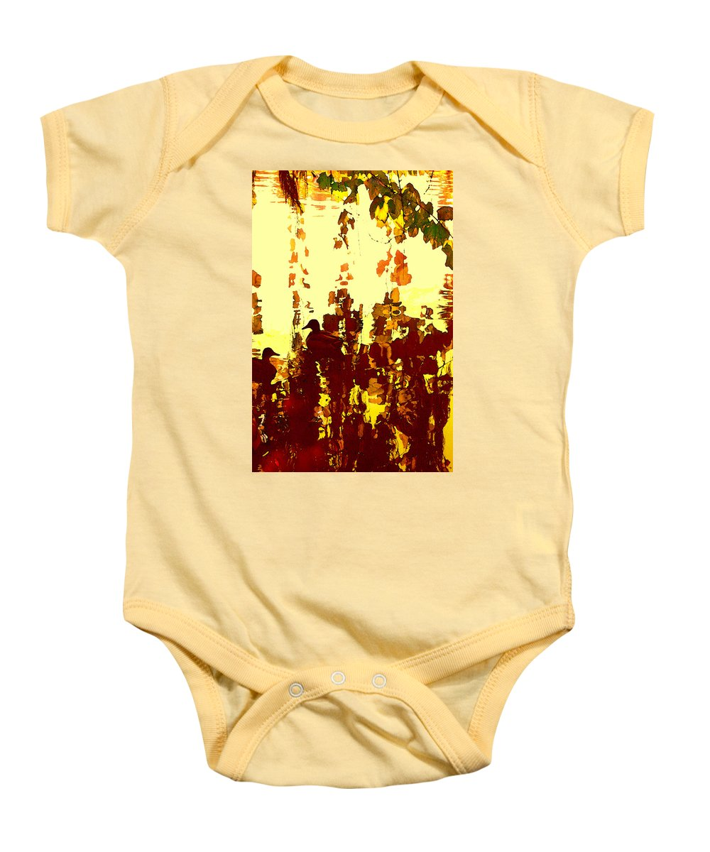 Landscape Baby Onesie featuring the painting Ducks On Red Lake 2 by Amy Vangsgard