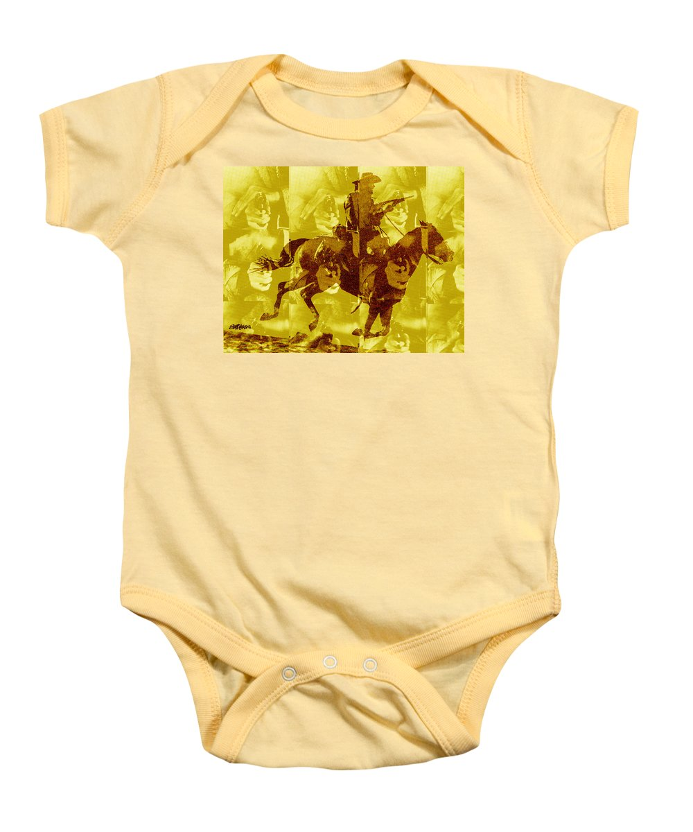 Clint Eastwood Baby Onesie featuring the digital art Duel In The Saddle 1 by Seth Weaver