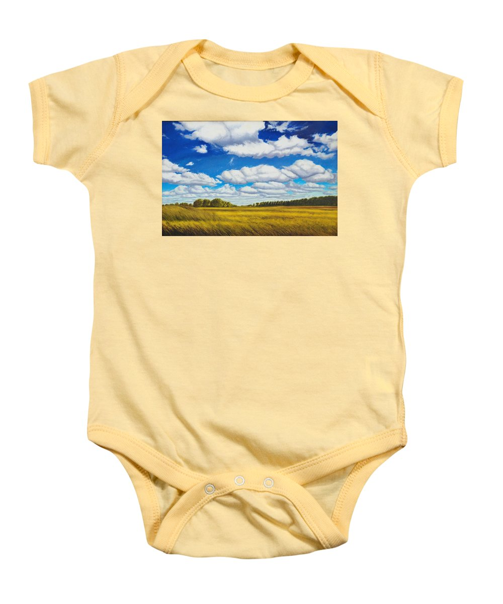 Wheat Baby Onesie featuring the painting Early Summer Clouds by Leonard Heid