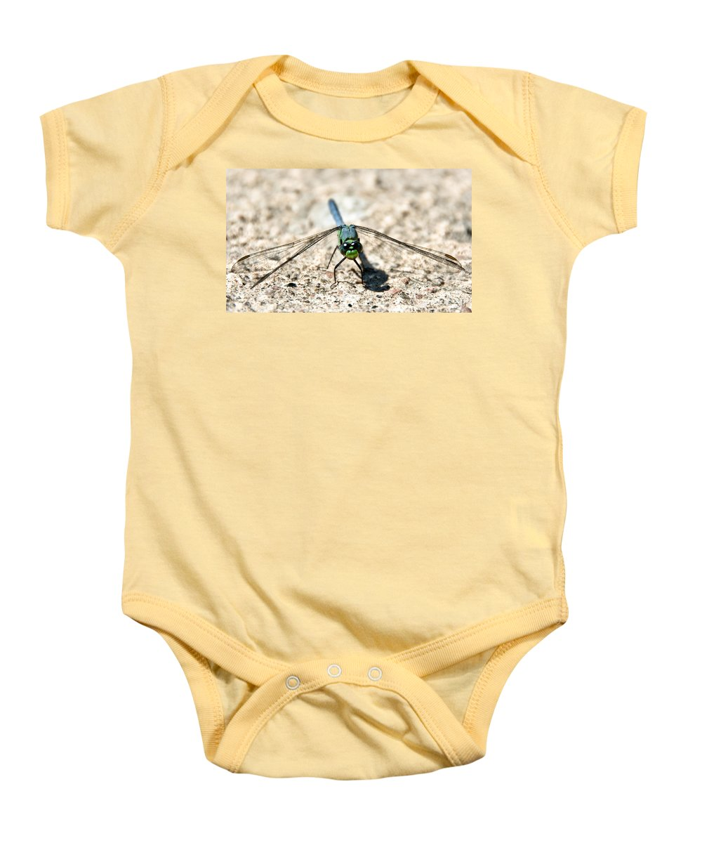 Dragonfly Baby Onesie featuring the photograph Eastern Pondhawk Front by Cheryl Baxter