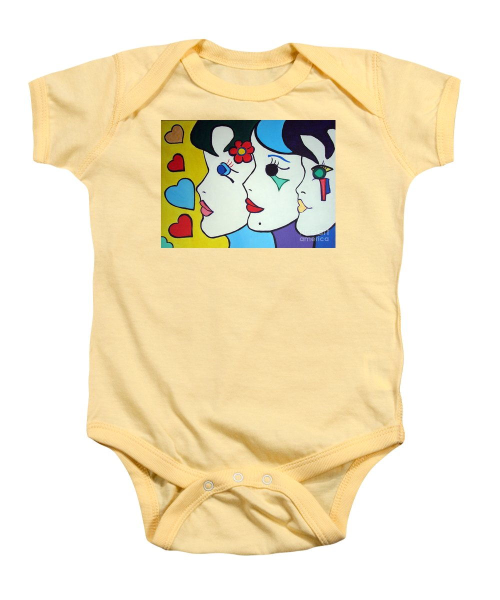 Pop Art Baby Onesie featuring the painting Falling In Love by Silvana Abel
