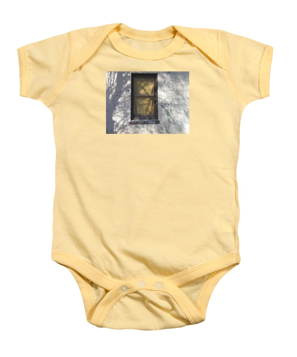 Film Noir Bobby Driscoll The Window 1949 Front Window Eloy Arizona 2004 Baby Onesie featuring the photograph Film Noir Bobby Driscoll The Window 1949 2 Front Window Eloy Arizona 2004 by David Lee Guss