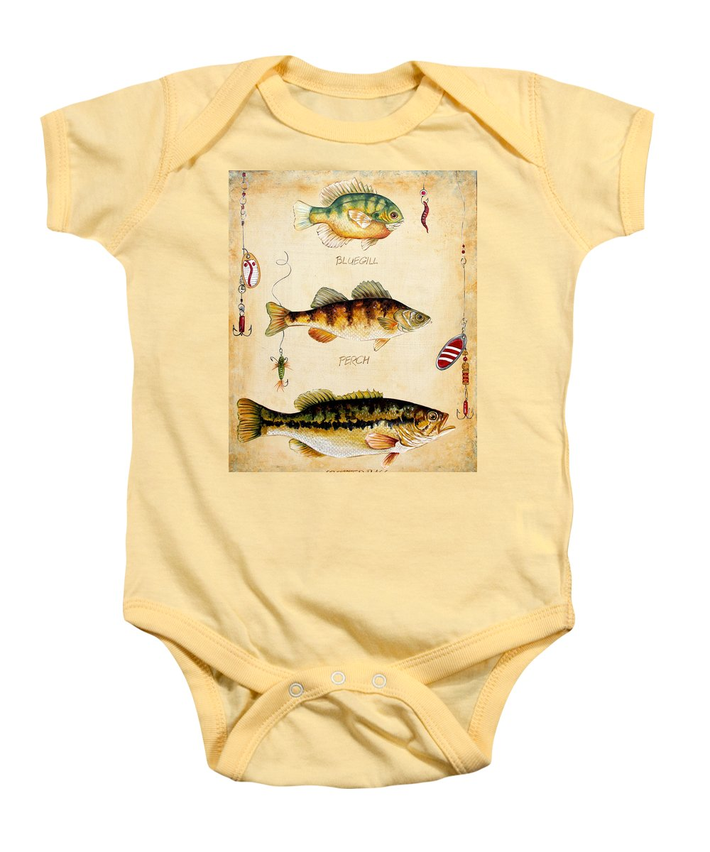 Acrylic Painting Baby Onesie featuring the painting Fish Trio-c by Jean Plout