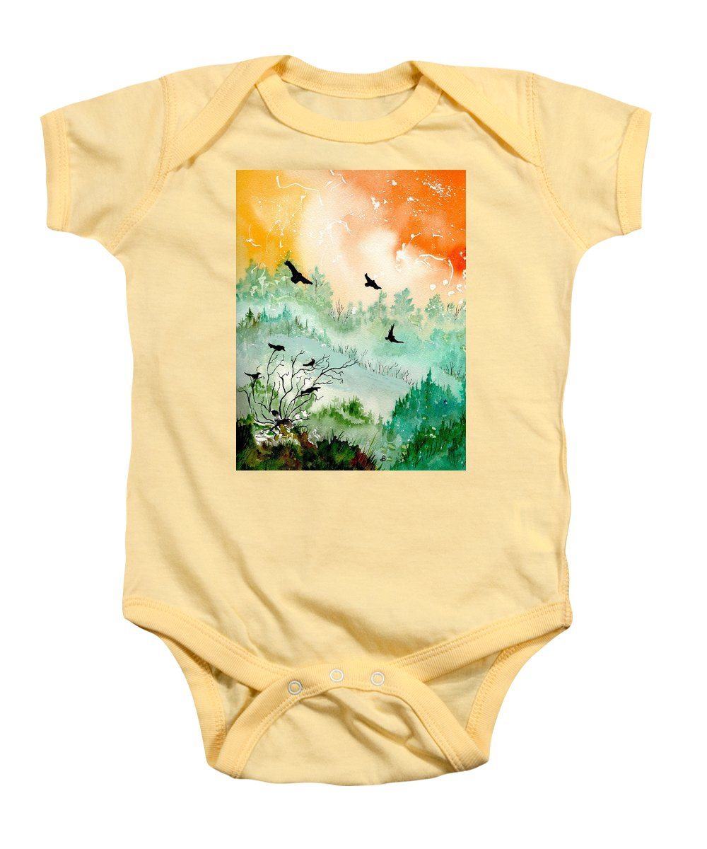 Watercolor Baby Onesie featuring the painting Flight by Brenda Owen
