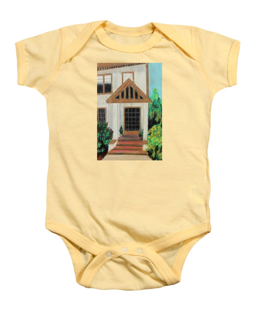 House Baby Onesie featuring the painting Front Door 1 by Jeanne Fischer