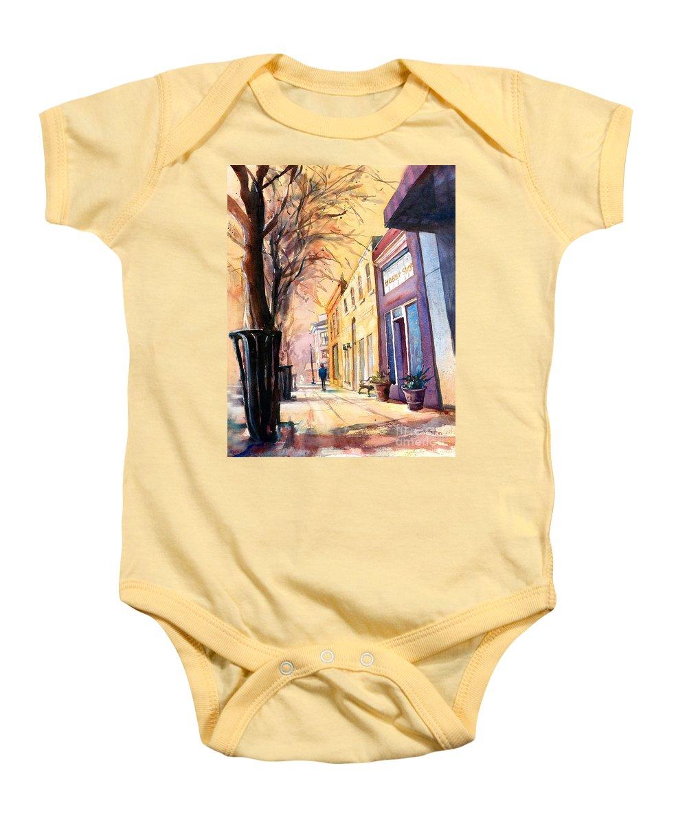 Fuquay-varina Baby Onesie featuring the painting Fuquay-varina Downtown by Ryan Fox