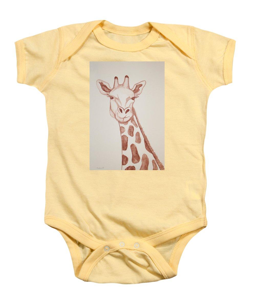 Rick Huotari Baby Onesie featuring the painting Giraffe by Rick Huotari
