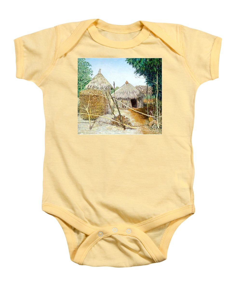 Grass Baby Onesie featuring the painting Grass House by Yoseph Abate