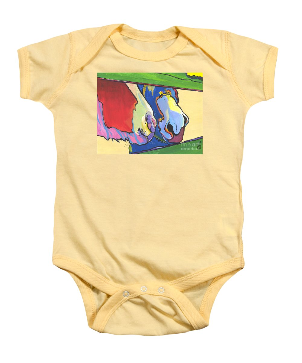 Pat Saunders-white Canvas Prints Baby Onesie featuring the painting Green Fence by Pat Saunders-White